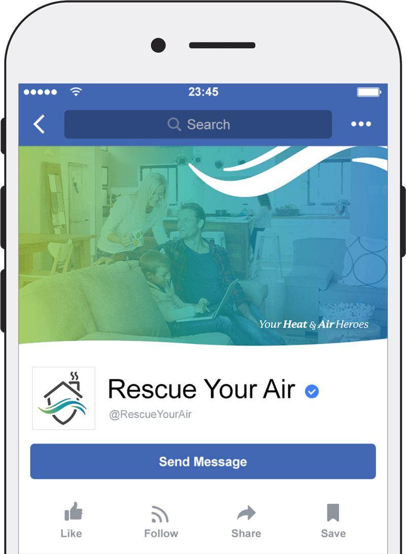 iPhone with Rescue Your Air's Facebook page displayed.